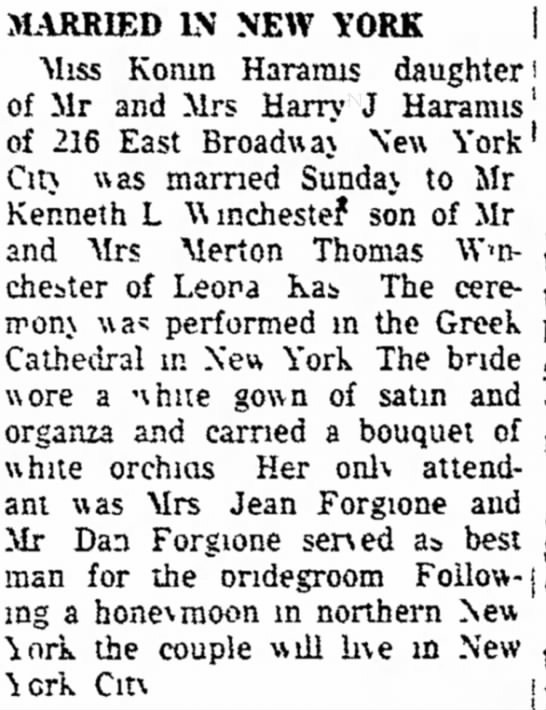 Harmais wedding announcement in newspaper - ! MARRIED IN NEW YORK Miss Konm Hararms...