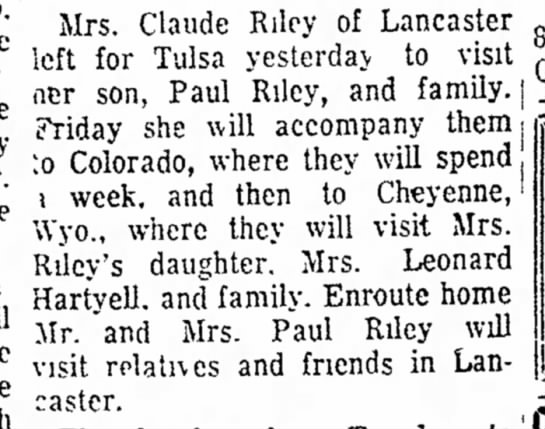 - 1. He State Mrs. Claude Riley of Lancaster left...