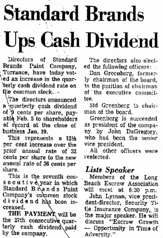 john degregory - Standard Brands Ups Cash Dividend Directors of...