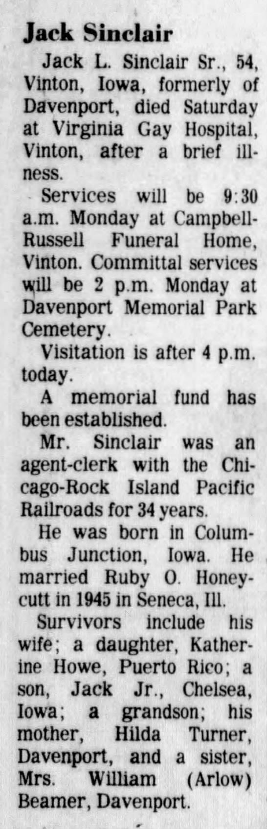 Jack Sinclair Obituary - t Jack Sinclair Jack L. Sinclair Sr., 54,...