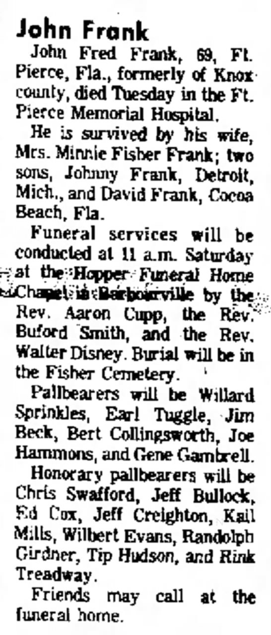Swafford Chris pallbearer for John Frank 21 Feb 1974