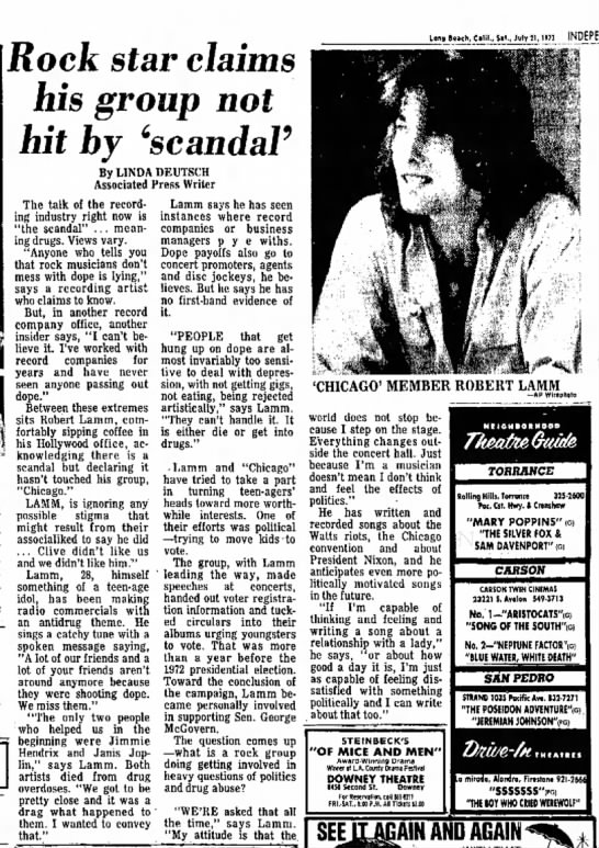 Independent Press-Telegram Long Beach 7-21-73 Robert Lamm on drugs - Rock star claims his group not hit by 'scandal*...