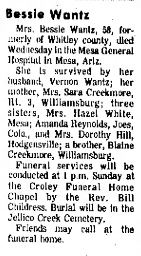 The Corbin Times Tribune, Corbin, KY 30 Sep 1973 - and Bessie Wanti Mrs. Bessie Wanlz, 58, for-...