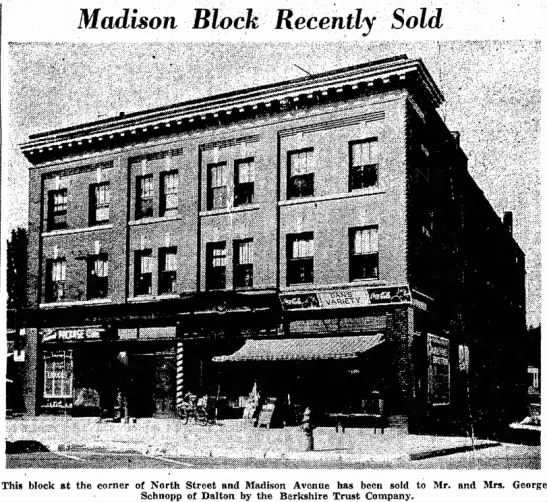 Madison Block sold to George & Addie Schnopp - big possible, expect. that Madison Block...