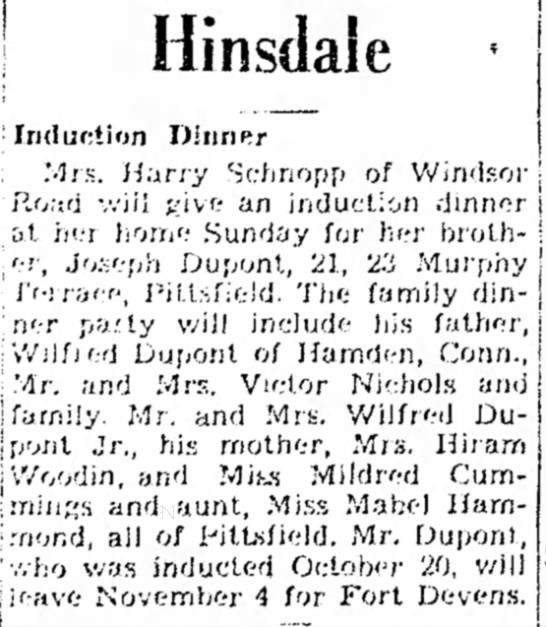 Joseph Dupont inducted in Army - · 1 Hinsdaie fnlur;tion DinriRr Mrs. Harry...