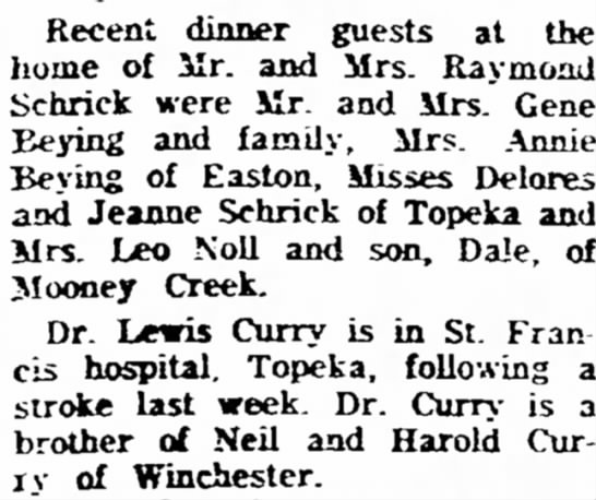 Eugene Beying 1957 Atchison - Recent dinner guests at the home of Mr. and...