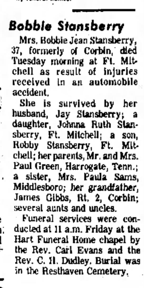 Bobbie Jean Stansberry nee Green obituary - 52ft-' air by. 12- Bobble Stonsberry Mrs....