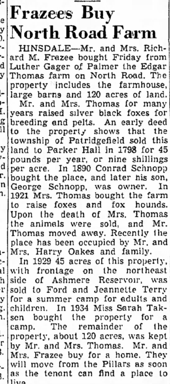 The Berkshire Eagle (Pittsfield, Massachusetts) - 21 Nov 1942, Sat. - p. 8, col. 7 - be by and Pilgrim H. will Mr. second signal...