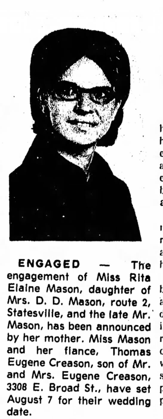 - ENGAGED — Tire engagement of Miss Rita Elaine...