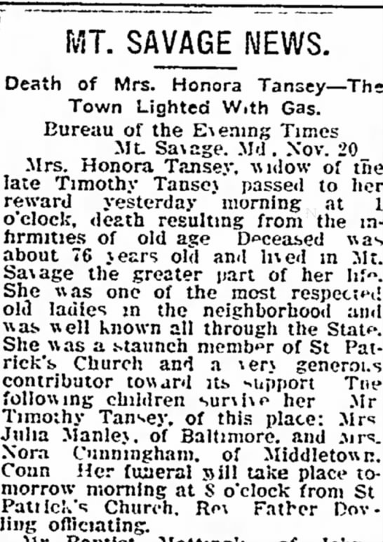 tansey - MT. SAVAGE NEWS. Death of Mrs. Honora Tansey --...