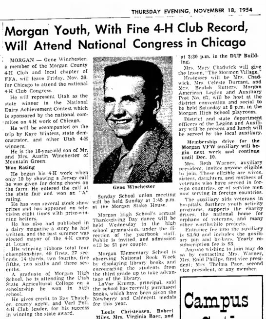 gene to attend national 4-H club congress nov 18, 1954 - THURSDAY EVENING, NOVEMBER 18, 1954 'Morgan...