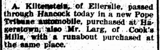 19050916  Car PUrchases - is A. Klltenrtdl, of Ellerslie, passed through...