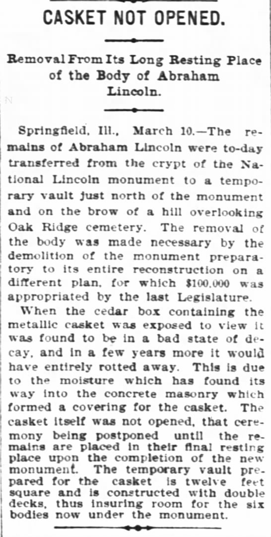 Abraham Lincoln's body moved