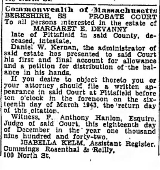 4 jan 43 daniel administrator - ) BERKSHIRE, SS 'MnMHaclinMottn PROBATE COURT...