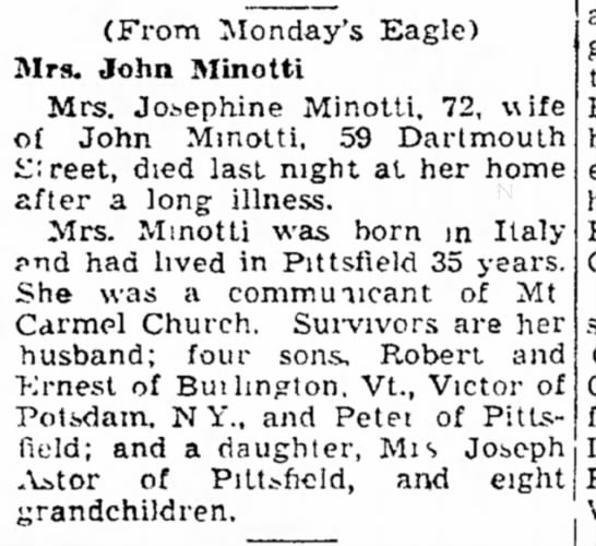 From the Berkshire Eagle July 14, 1948 - (From Monday's Eagle) Mrs. John Minotti Mrs....