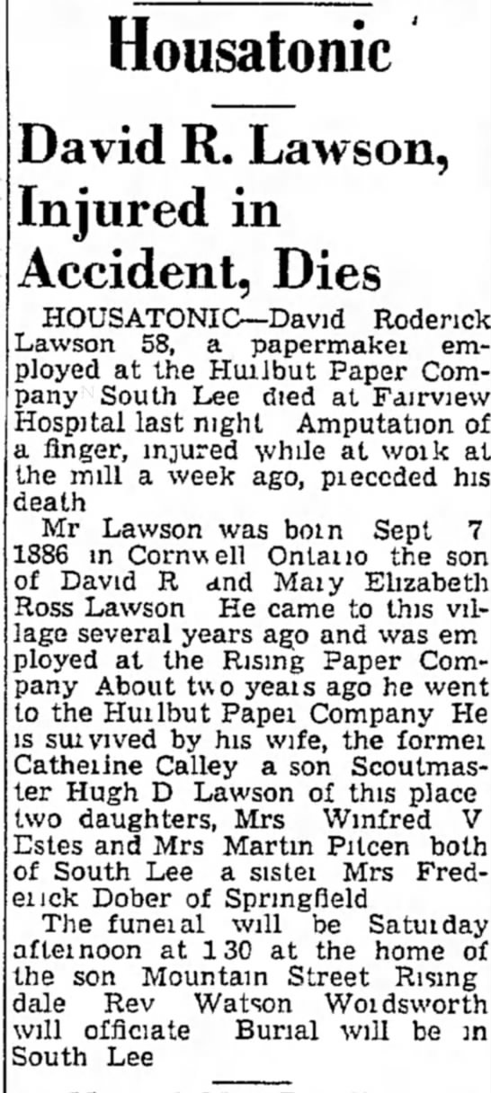 David Lawson - Housatonic David R. Lawson, Injured in...