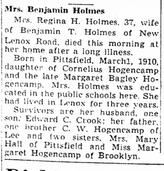 Nana's Sister Regina's Obituary 23 April 1947 - h t e r , Mrs. i v e r ; also! Mrs. Benjamin...