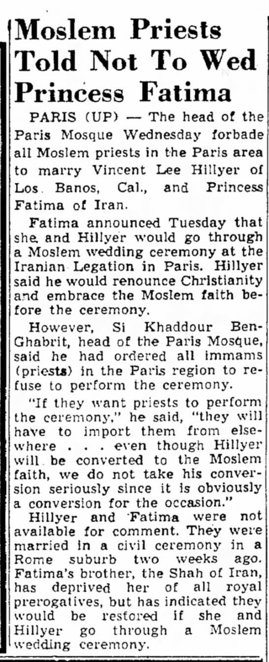 The Berkshire Eagle (Pittsfield, Massachusetts) 28 Apr 1950, Fri Page 5 - Moslem Priests Told Not To Princess Fatima...