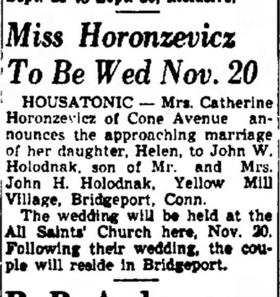 Helen Horo engagement - In board Miss Horonzevicz toiTn Rp WefJ /V/M)...