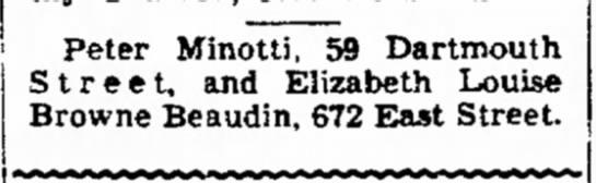 From the Berkshire Eagle April 1949 - Mc- F. Peter Minotti, 59 Dartmouth S t r e e t...