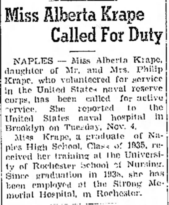 - Miss Alberta Krape Called For Duty