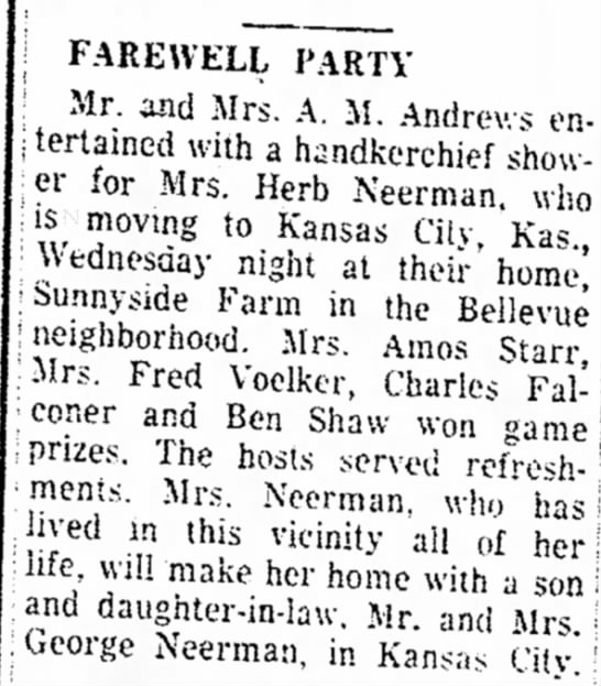 The Atchison Daily Globe; 14 May 1954; Fri pg 5-Neerman, Ruby - | FAREWELL PARTY : ! Mr. and Mrs. A. M. Andrews...