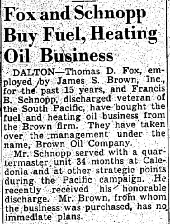 Fox and Schnopp purchase Brown Oil Company