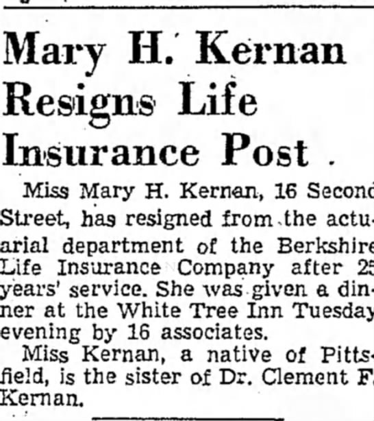 23 Feb 1946 Berkshire Eagle - and by, Mary H. Reman Resigns Life Insurance...
