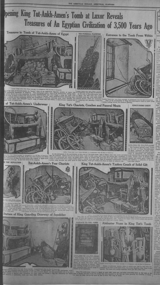 Artifacts from Tut's tomb - THE ADCSVILLE HERALD, ABBEVILLE, ALABAMA...