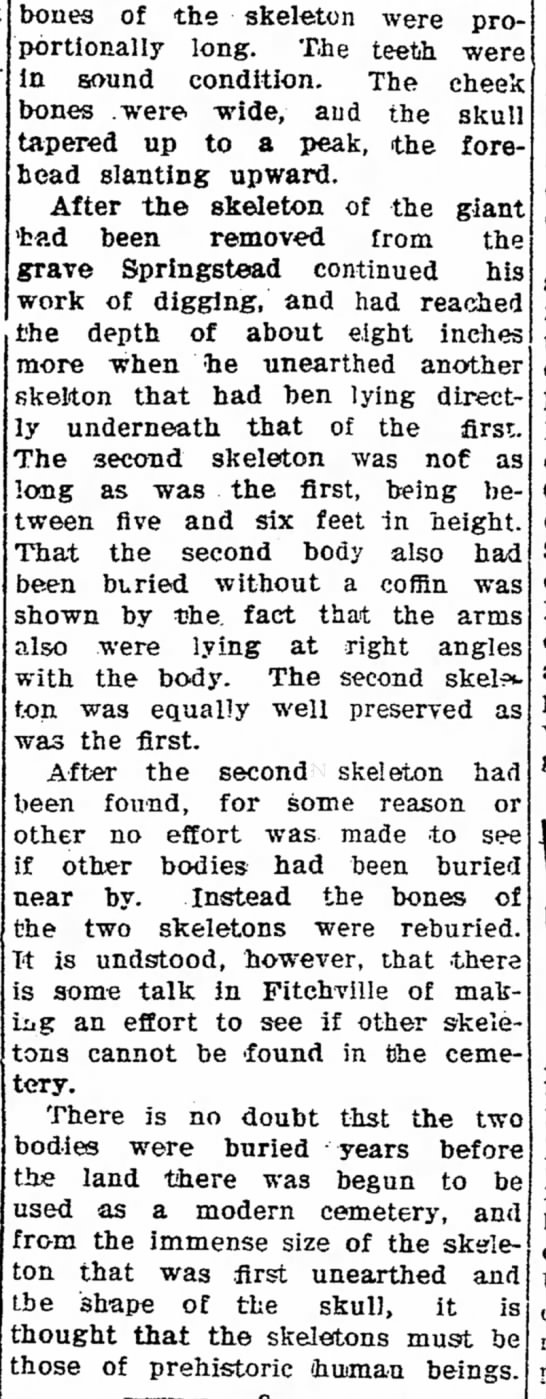 Giant found near Norwalk, OH part II. - bones of the skeleton were pro portionally In...