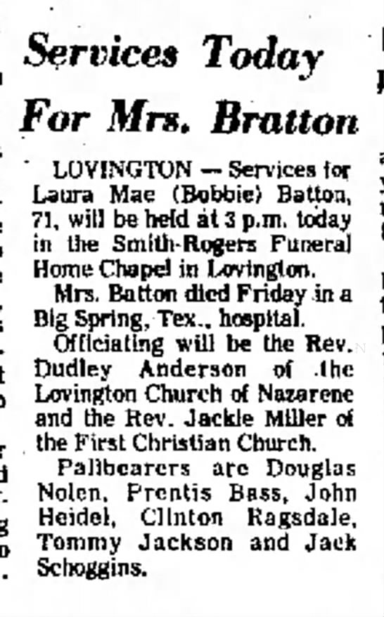 Laura Mae (Woodward) Batton obituary  - the public's most to and drug to undercover...