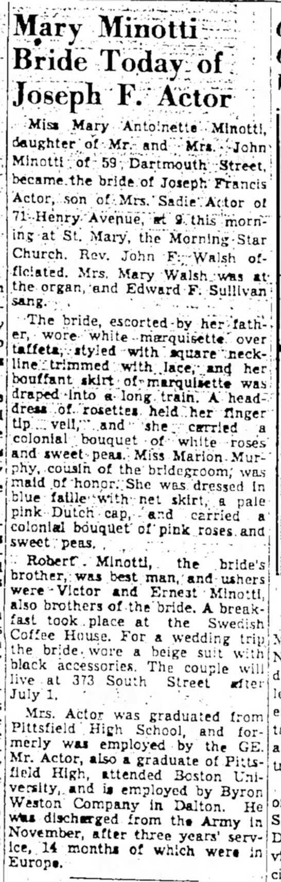 from the Berkshire Eagle June 15, 1946 - the' jov- polic -who Mary Minotti Bride Today-...