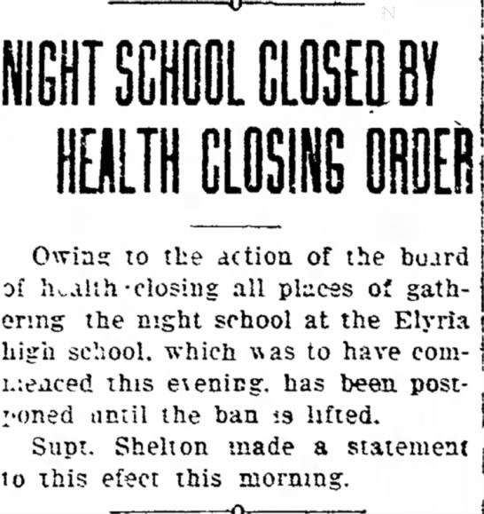 Night School Closed by Health Closing Order - Owins to the action of the of health-closing...