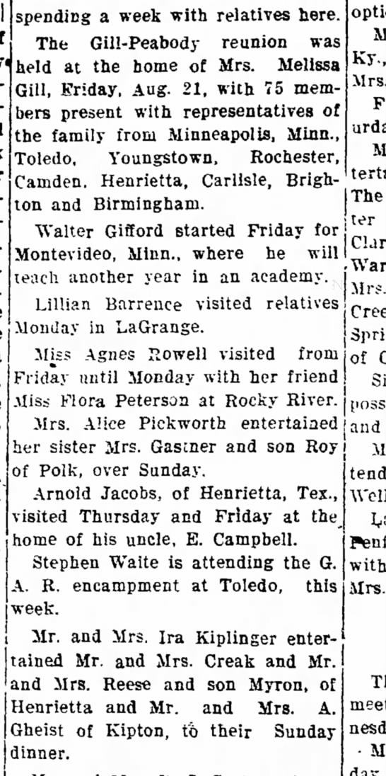 """Hen nws 3Sept1908 - relatives ton and Birmingham. """"Walter Gifford..."""