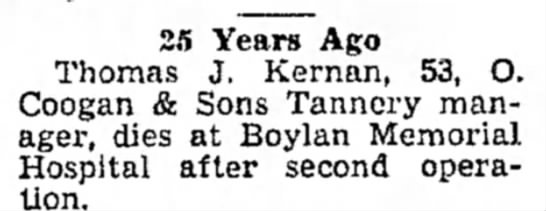 possibel tjkernan jr  10 aug 1949 25 yrs ago - 2.1 Years Ago Thomas J. Kernan, 53, O. Coogan...