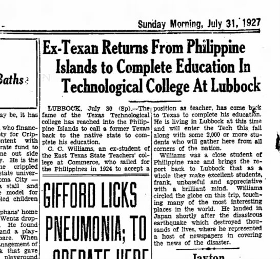 Abilene RN 7 31 1927 Williams returns from Philippines - Sunday Morning, July 31/1927 Baths may be, it...