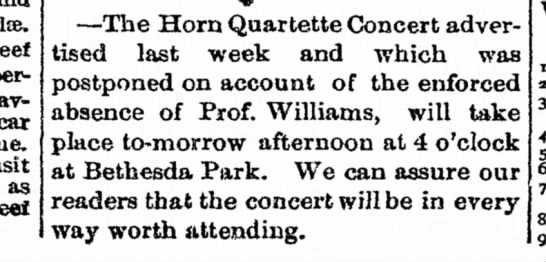 Horn quartette--Prof. Williams - Beef perhaps after-having car time, in transit...