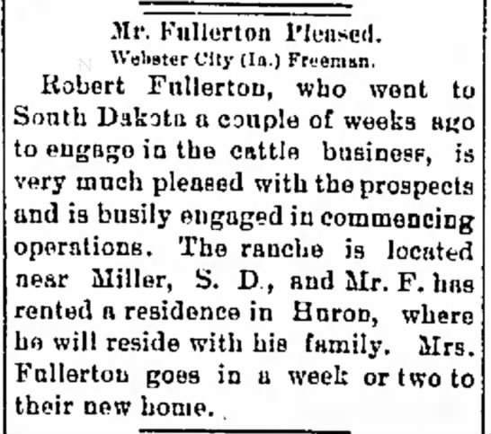 Robert Fullerton goes into Cattle Business - 10 May 1895 - r to tlion- Mr. Fullerton Pleased. U'elister...