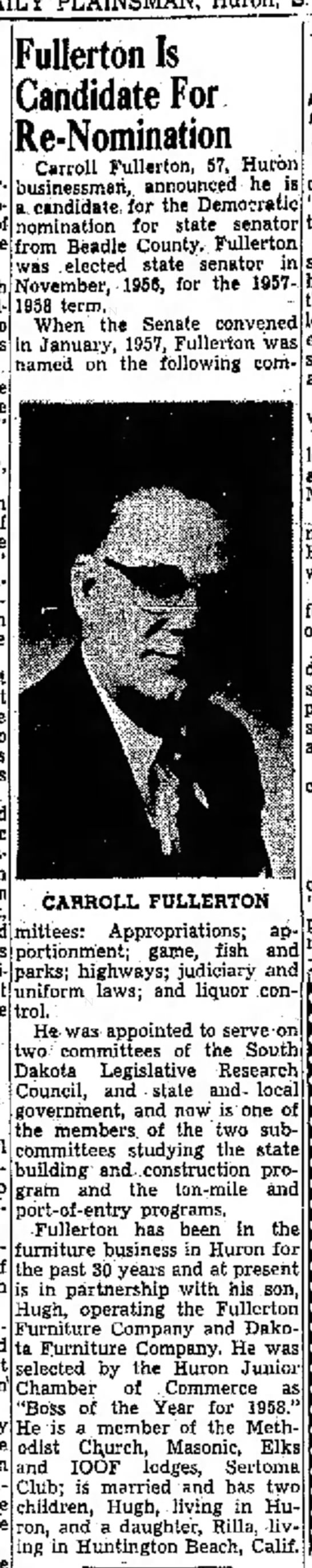 Carroll Fullerton for Re-Nomination - Fuller-ton Is Candidate For Re-Nomination...