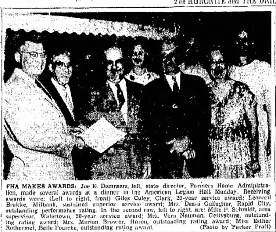 Farmers Home Administration awards Vera Nauman 1958 - Monday, forming dean FHA MAKES AWARDS: Joe E....