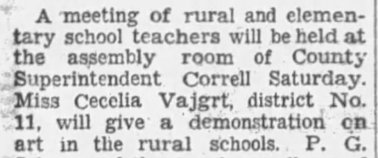 Cecelia Vajgrt teacher-demonstration on art in the rural schools Mar 29th 1935 - A -meeting -meeting of rural and elementary...