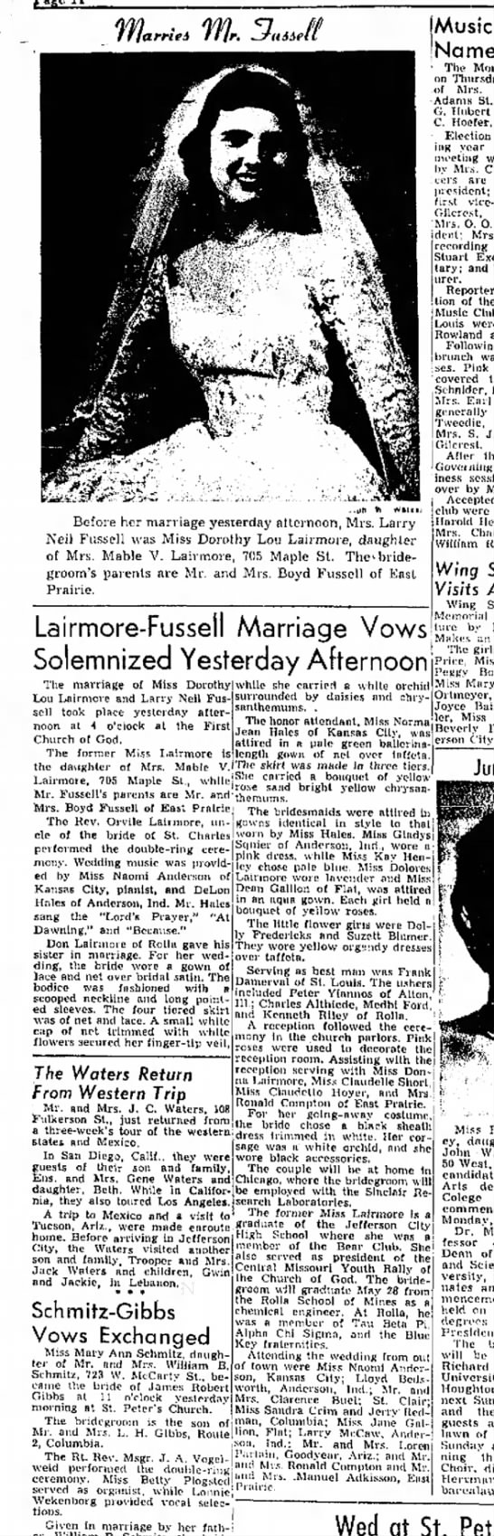 dorothy lairmore wedding - .. Before her marriage yesierday alternoon,...