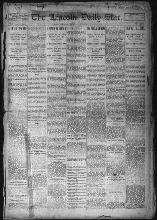 First issue of the Lincoln Daily Star, 2 Oct 1902 - r : ( f . I - at, I I i: THE LINCOLN DAILY STAR...