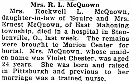 Violet Chester McQuown obit - Mrs. R. L. McQuown Mrs. Rockwell L. McQuown,...