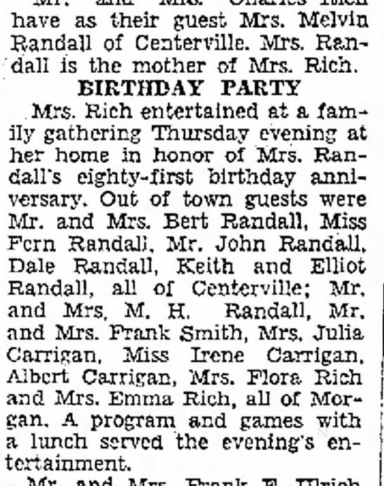 Aug 18, 1935  Julia R. Carrigan's surprise party - have as their guest Mrs. Melviu Randall of...