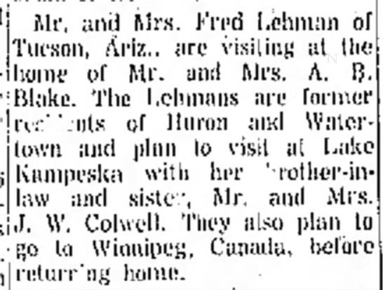 Mr  & Mrs Fred Lehman- City Briefs- Visit J.W. Colwell - jj,.. an ,| Mrs. Fred Lehman of {Tucson, Ariz.,...