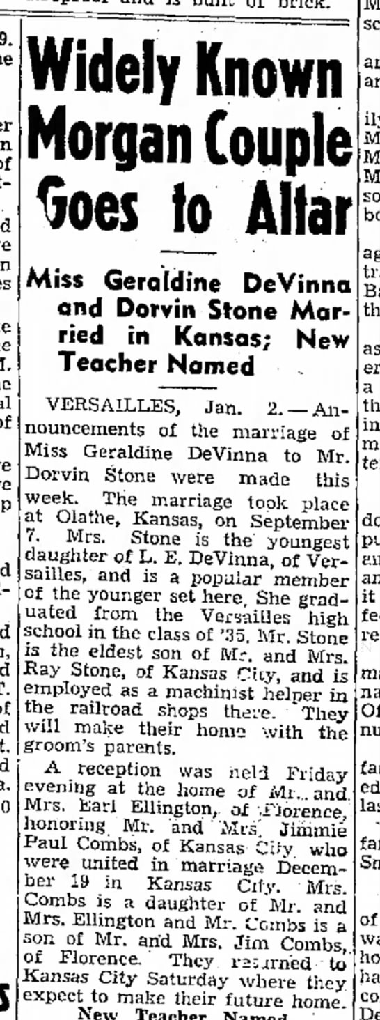 Geraldine Devinna marriage. Sunday News and Tribune (Jeff. City, MO) 3 Jan 1937 - she of Saturday J. M she following: and and of...
