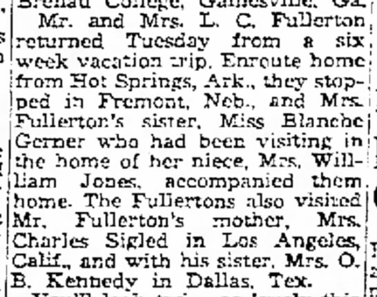 "Fullertons on six week trip - 23 March 1950 - . ."" l a i m s thc of Mr. and Mrs. L. C...."