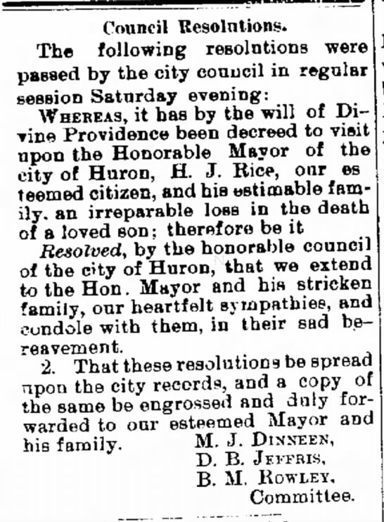 The Daily Plainsman Huron South Dakota 11 Dec 1888 - Council Resolutions. The following resolutions...