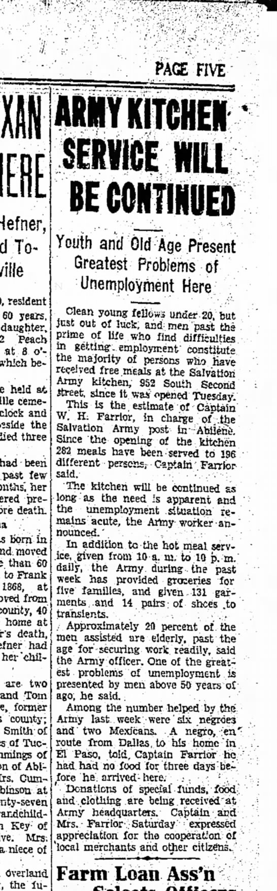 W H Farrior - 26 Jan 1930 - Abilene Reporter, Texas - PAGE FIVE Hefner, To* 80, resident 60 years,...